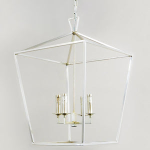7749-815L4SS L780703 4 Light Chandelier In Silver w/Silver Finish Dishes (25Hx17Wx17D)