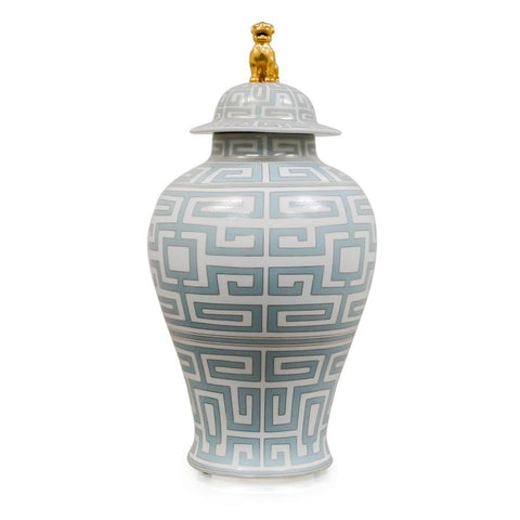 7113-2249-24GY A710401 Hand-Painted Porcelain Jar & Lid with Geometric Design in Grey (24H X 12Dia)