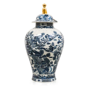 7113-2249-24BLW A710501 Hand-Painted Porcelain Jar with Blue & White Design (24H X 12Dia)