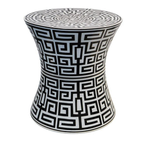 7113-363-22B A710601 Hand-Painted Porcelain Garden Stool withGeometric Design in Black (22H X 20Dia)