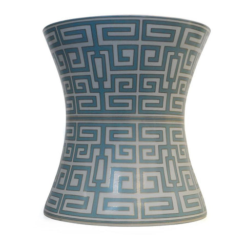 7113-363-22GY A710602 Hand-Painted Porcelain Garden Stool withGeometric Design in Grey (22H X 20Dia)