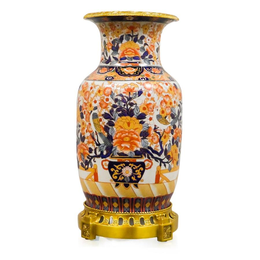 7113-4096-18IM A710701 Hand-Painted Porcelain Vase with Imari Design (21H X 10Dia)
