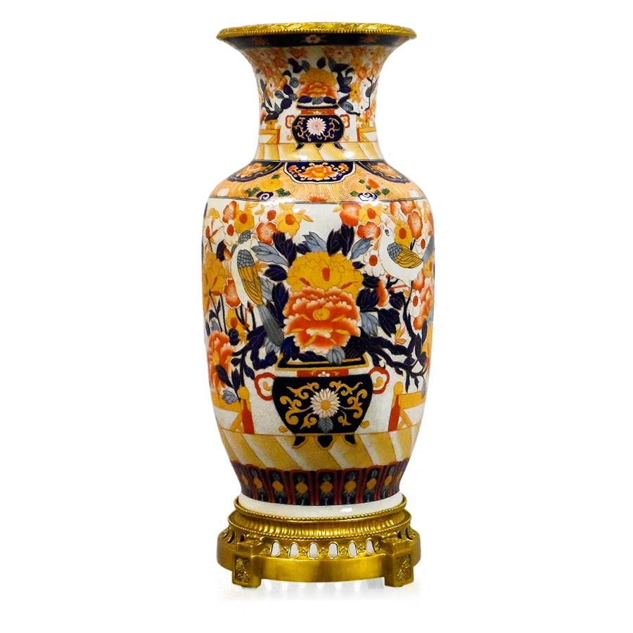 7113-4096-24IM A710801 Hand-Painted Porcelain Vase with Imari Design (27H X 11Dia)