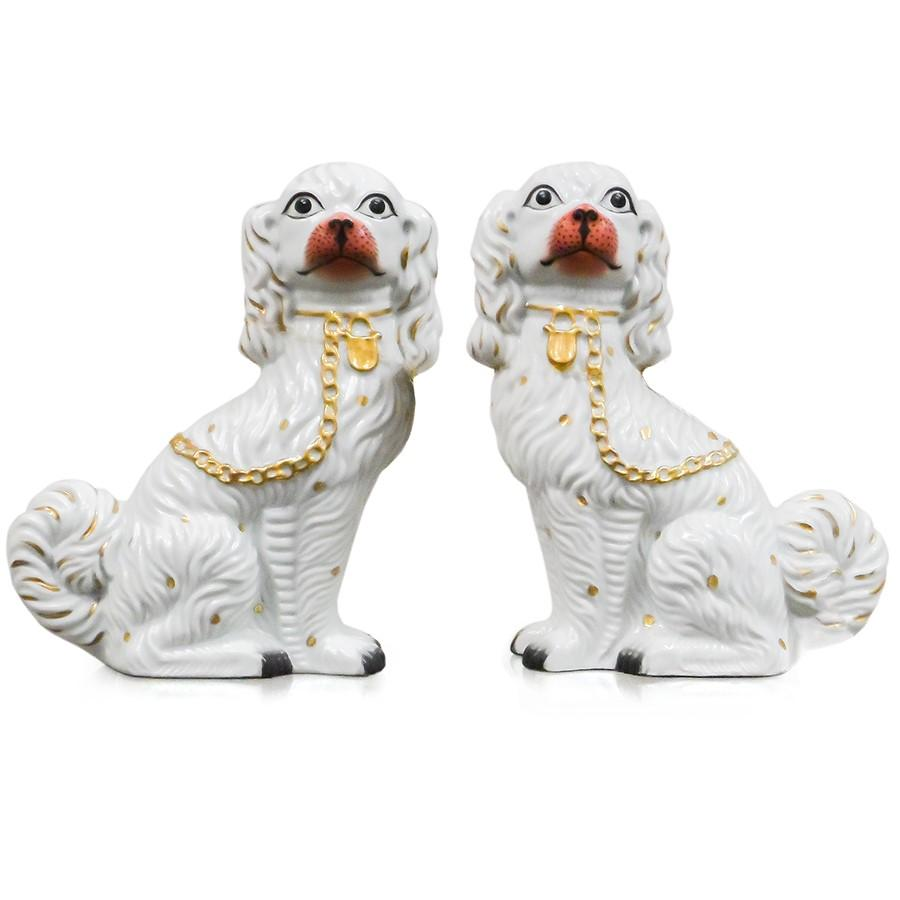 7113-7101P-10W A711001 Pair of Hand-Painted Porcelain Dogs (8L X 4W X 10H)