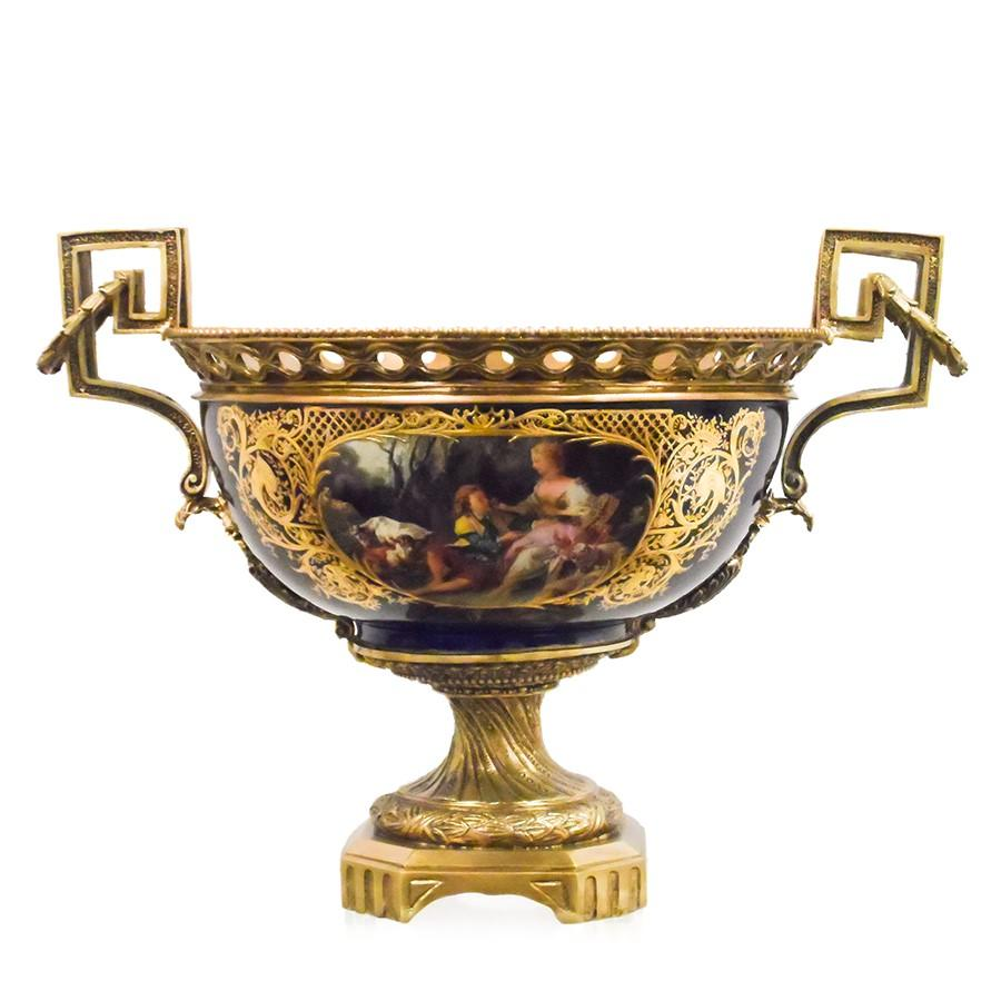 7712-81156CA A720101 Hand-Painted Dark Blue & Gold Porcelain Centerpiece with European Figures and Bronze Accents (23L X 16W X 16H)