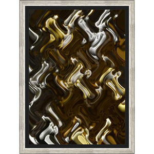 "4C313801 Framed Floating in a Contemporary Silver Floater Frame #7662. This frame has a 2"" profile in black."