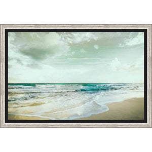 "4C314701 Framed Floating in a Contemporary Silver Floater Frame #7662. This frame has a 2"" profile in black."