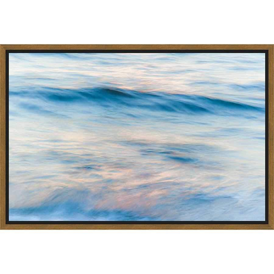 "4C316601 Framed Floating in a Contemporary Gold Floater Frame #7663. This frame has a 2"" profile in black."