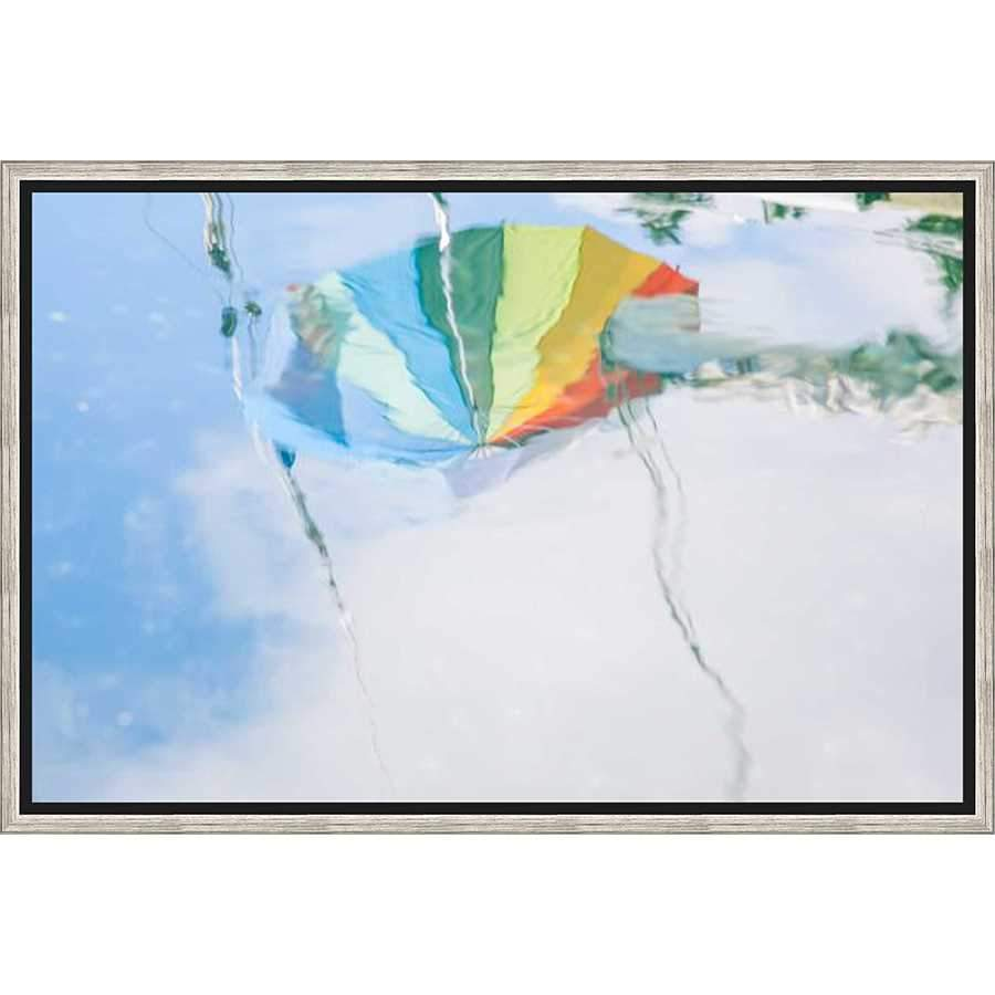 "4C316702 Framed Floating in a Contemporary Silver Floater Frame #7662. This frame has a 2"" profile in black."