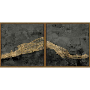 FG4D01C00 Giclée Diptych on Matte Canvas, framed Floating in a Contemporary Gold Floater Frame #10465 with a matching 2.25in profile.