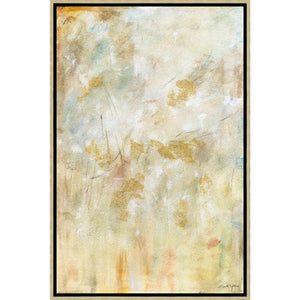 FH6005C01 Hand-Painted Original Oil on Matte Canvas, framed Floating in a Contemporary Gold Floater Frame #10465 with a matching 2.25in profile.