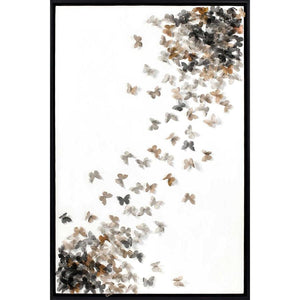FG6041C01 3D Art composed of Silk Butterflies, framed Floating in a Contemporary Black Frame.