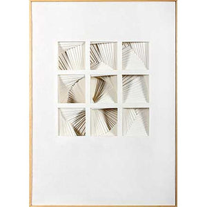 FG6042C01 3D Art consisting of layers of White Felt, framed in a Contemporary Natural Frame. Top Mat: 1136-W
