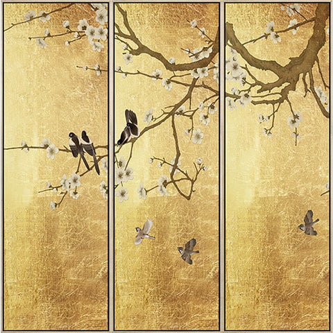 FH6T01C00 Hand-Painted Original Oil Triptych on Matte Canvas, framed Floating in a Contemporary Gold Frame. Embellished with Gold Foil