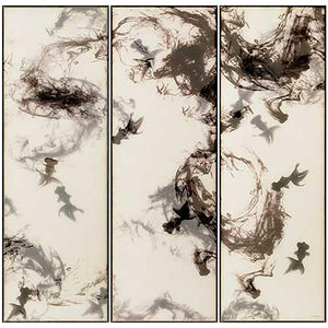FH6T03C00 Hand-Painted Original Triptych on Silk, framed in a Contemporary Black Frame.