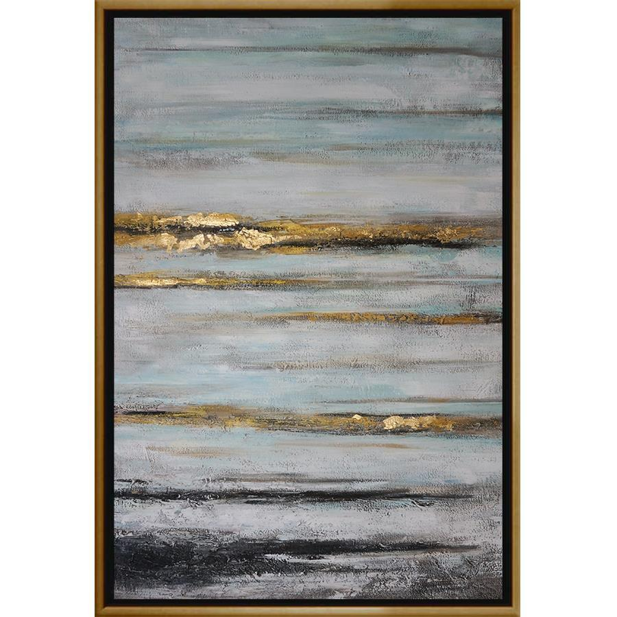 FH7028C01 Hand-Painted Original Oil on Matte Canvas, framed Floating in a Contemporary Gold Floater Frame #10465 with a matching 2.25in profile. Embellished with Gold Foil and Texturized