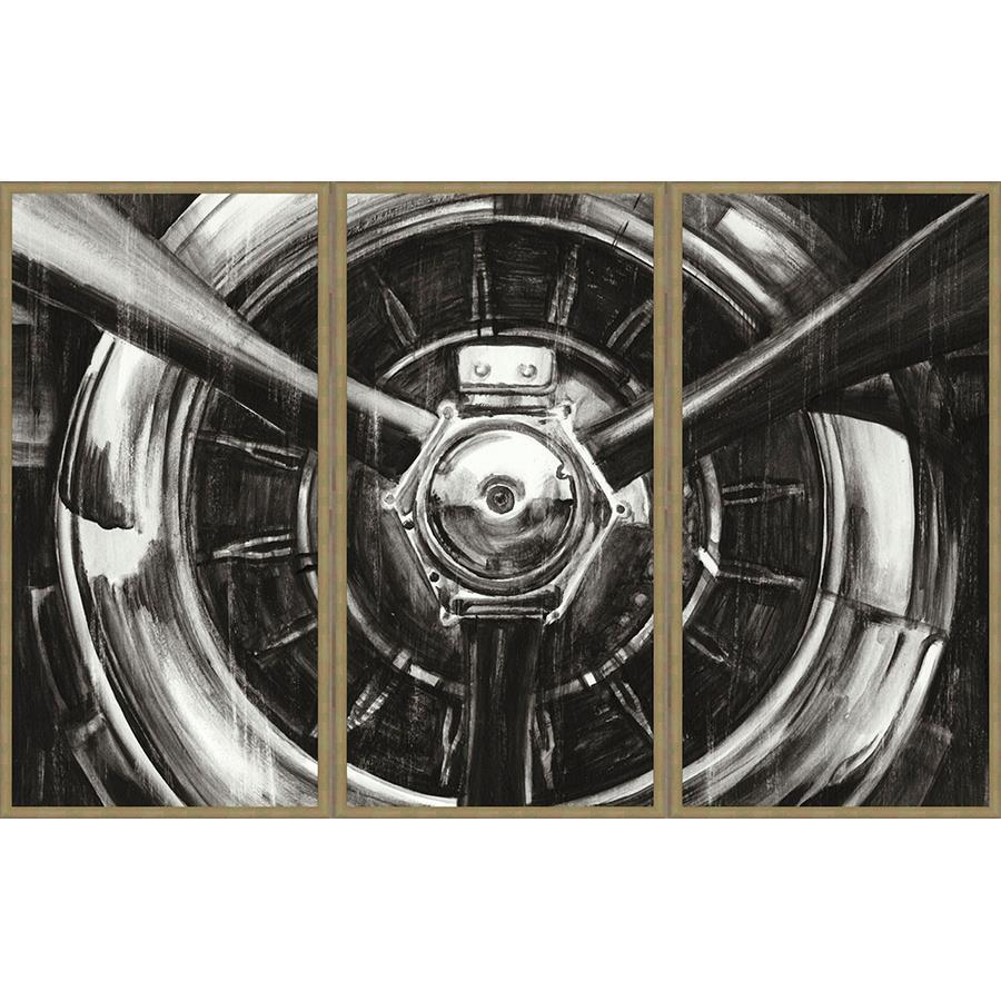 FG4T01P00 Giclée Triptych on Matte Paper, framed in Frame#7441 (Contemporary Silver)