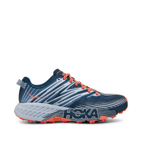 HOKA Women's SPEEDGOAT 4 BLUE/GREY/ORG