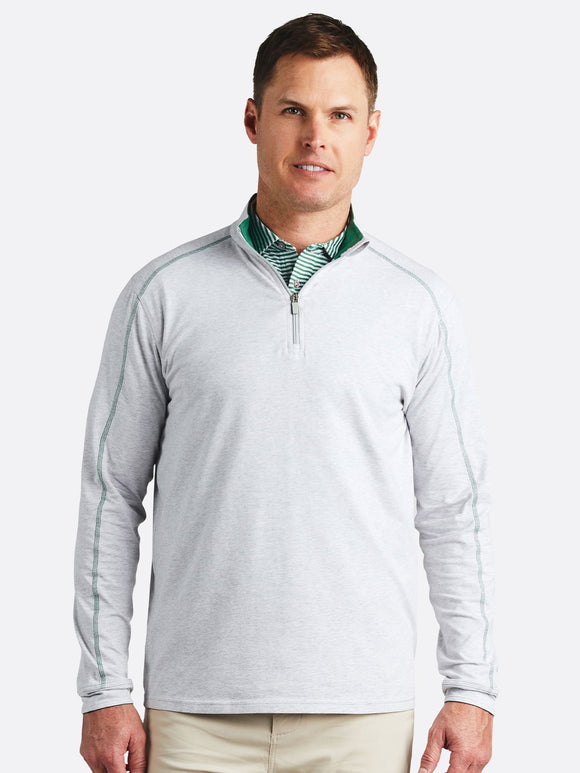 TASC Men's Carrollton 1/4 zip GREY/FERN