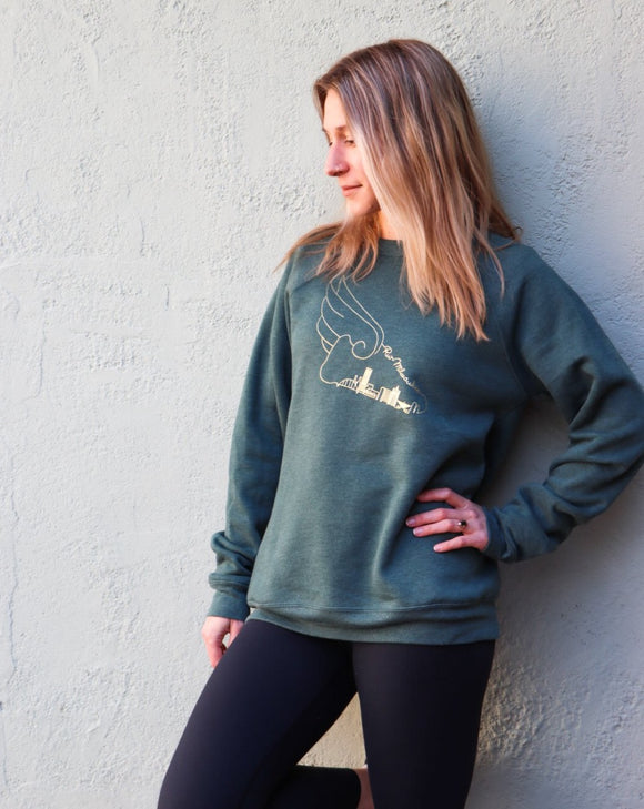 WING CREW SWEATSHIRT GREEN