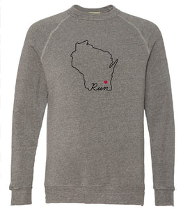 Pro Logo Heart MKE Run Unisex Sweatshirt GREY