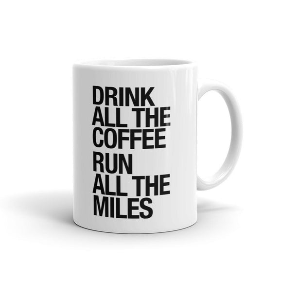 Sarah Marie Design Studio RUN MILES DRINK COFF WHITE