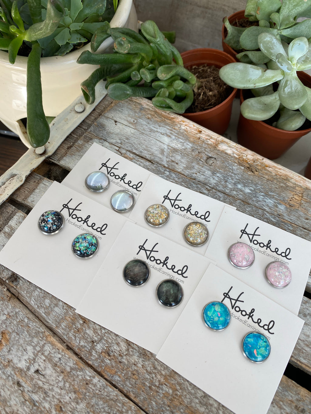 Opal Sparkle Studs - 12mm