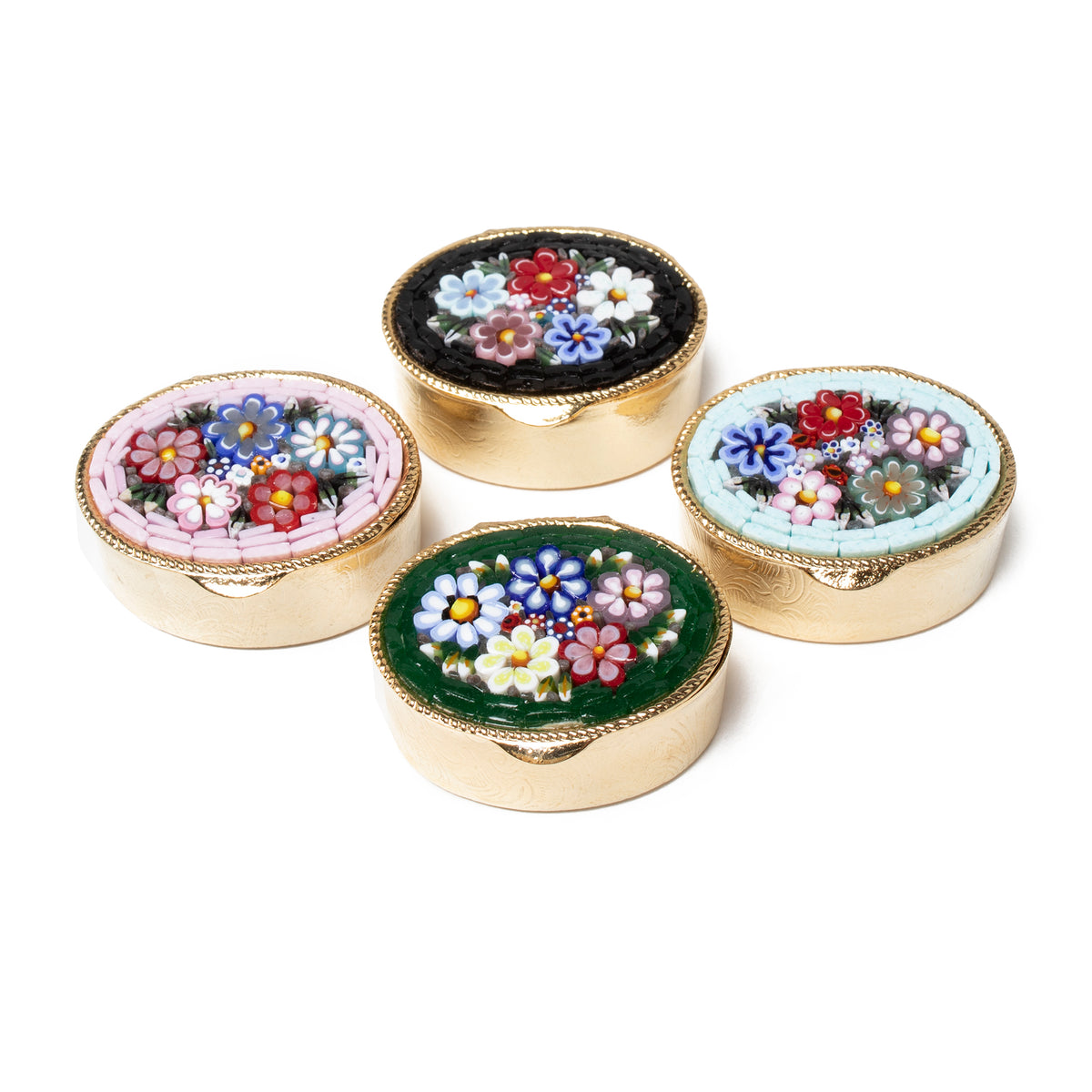 Murano Glass Mosaic Pill Box- Oval- Multiple Pill Boxes Shown | Getty Store