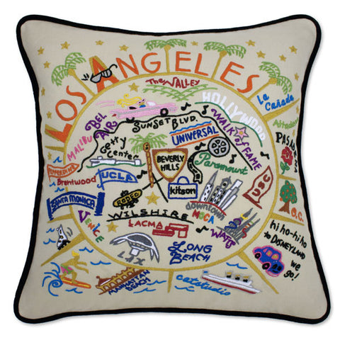 Los Angeles Hand Embroidered Pillow