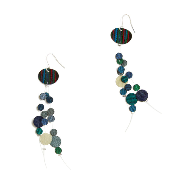 Contemporary Fabric Earrings - Blue