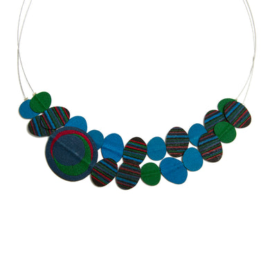 Contemporary Fabric Necklace - Blue