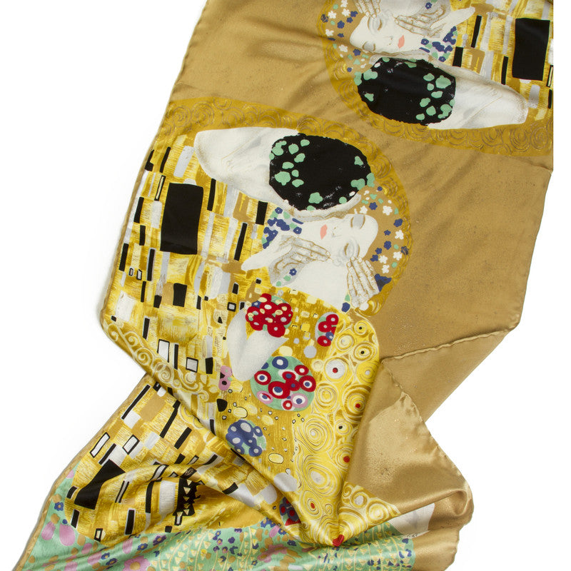 Klimt Long Silk Scarf- The Kiss- showing detail | Getty Store