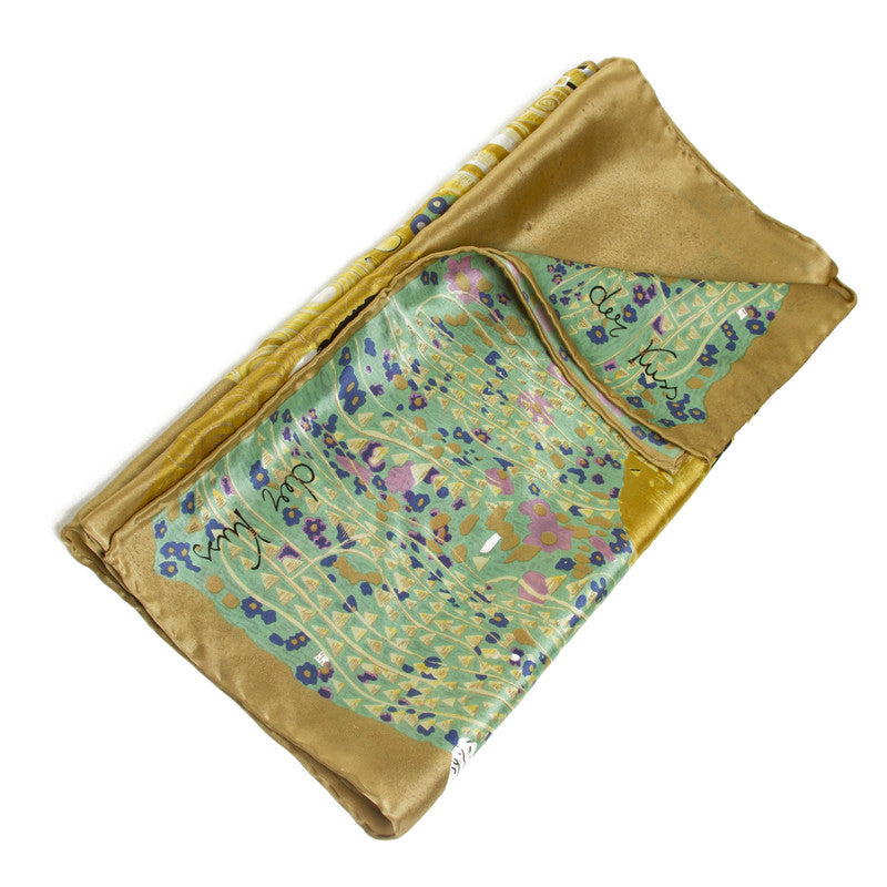 Klimt Long Silk Scarf- The Kiss- shown Folded | Getty Store