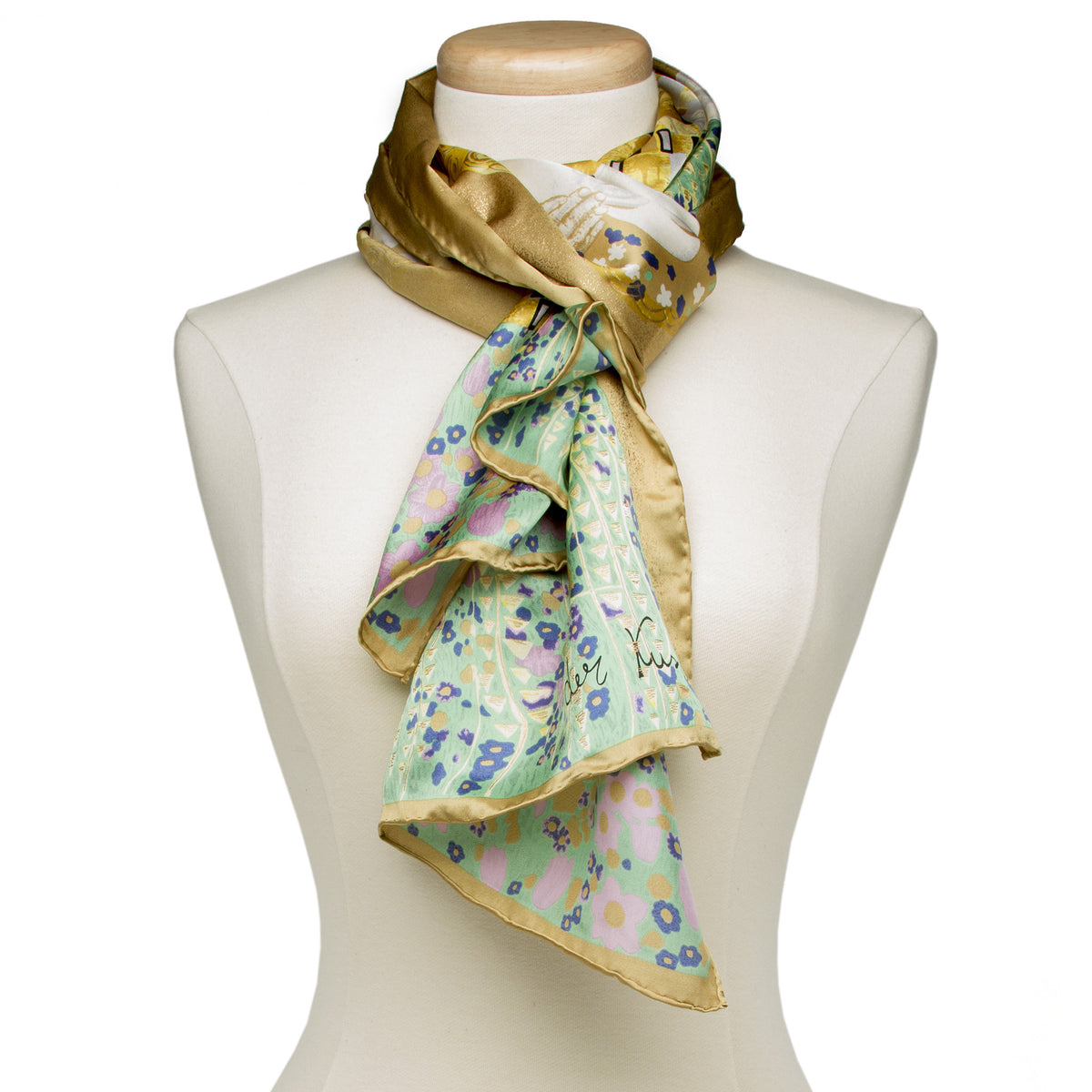 Klimt Long Silk Scarf- The Kiss- shown on Mannequin | Getty Store