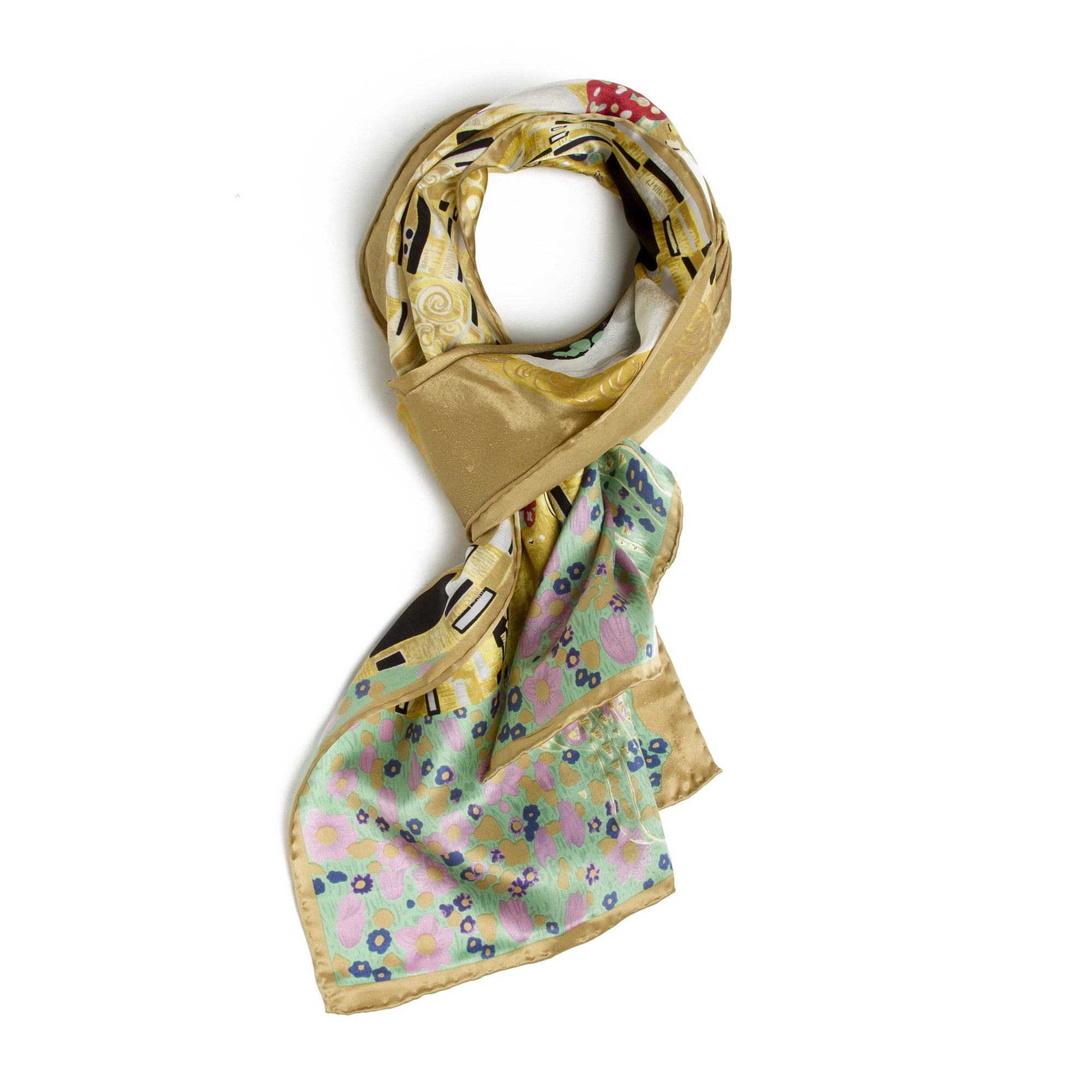 Klimt Long Silk Scarf - The Kiss