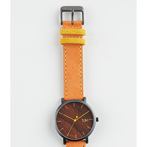 Orange/Wood Pattern Suede Watch