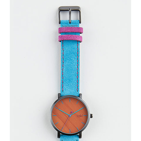 Blue/Wood Pattern Suede Watch
