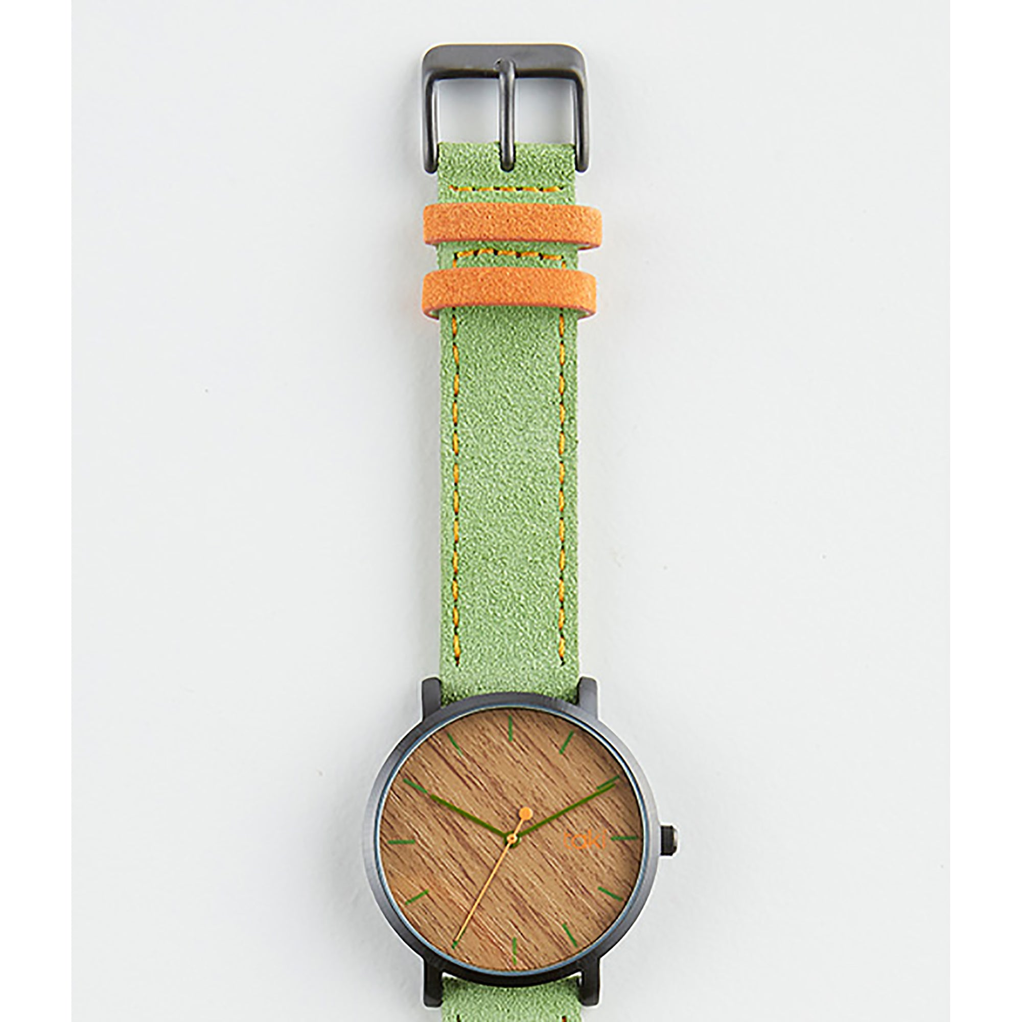 Green/Wood Pattern Suede Watch | Getty Store