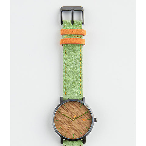 Green/Wood Pattern Suede Watch