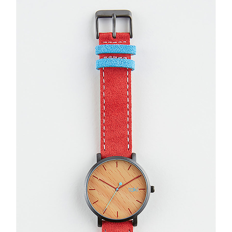 Red/Wood Pattern Suede Watch