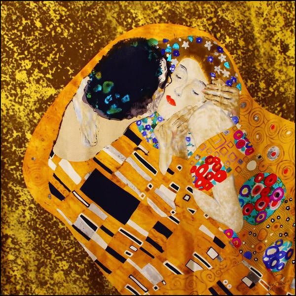 Klimt Long Silk Scarf- The Kiss- Inspiration artwork shown | Getty Store