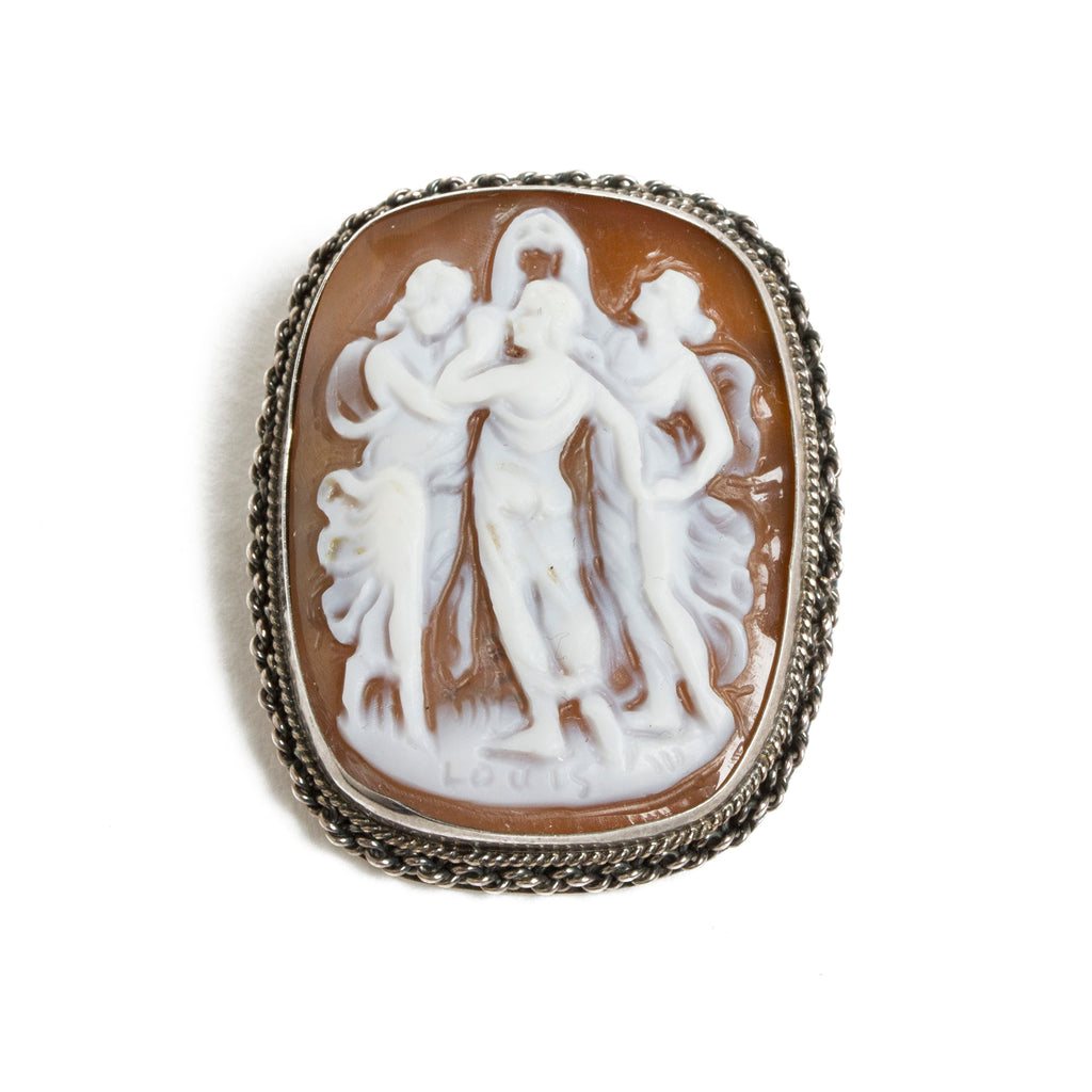 Hand Carved Cameo Brooch - Three Muses