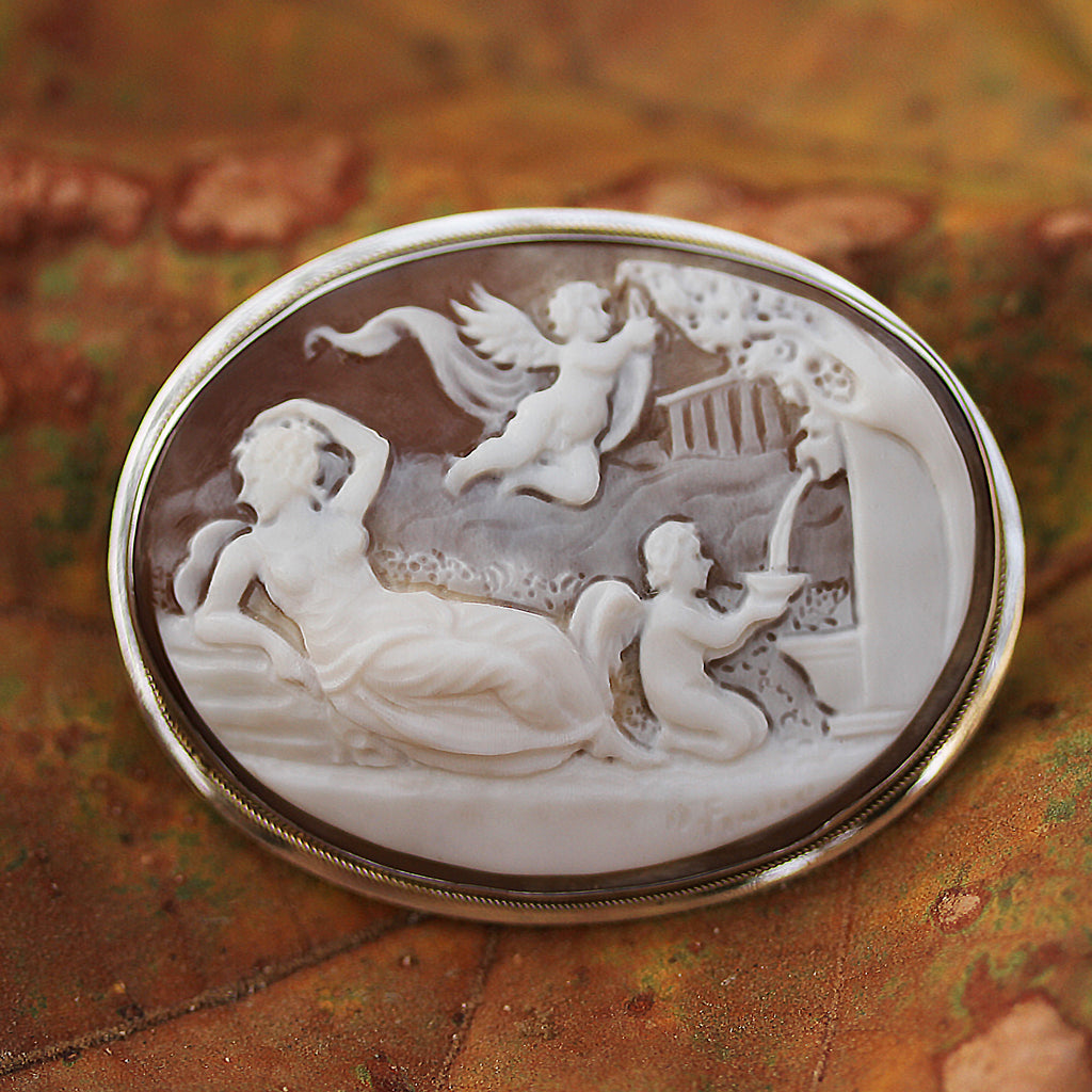 Hand Carved Cameo Brooch - Roman Scene