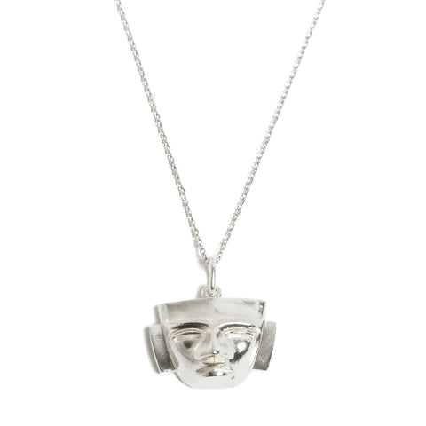 Sterling Silver Aztec Mask Necklace
