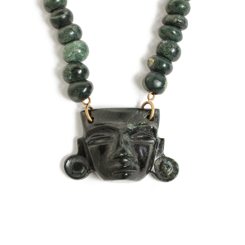 Large Jade Mask Necklace - Pre-Columbian Design