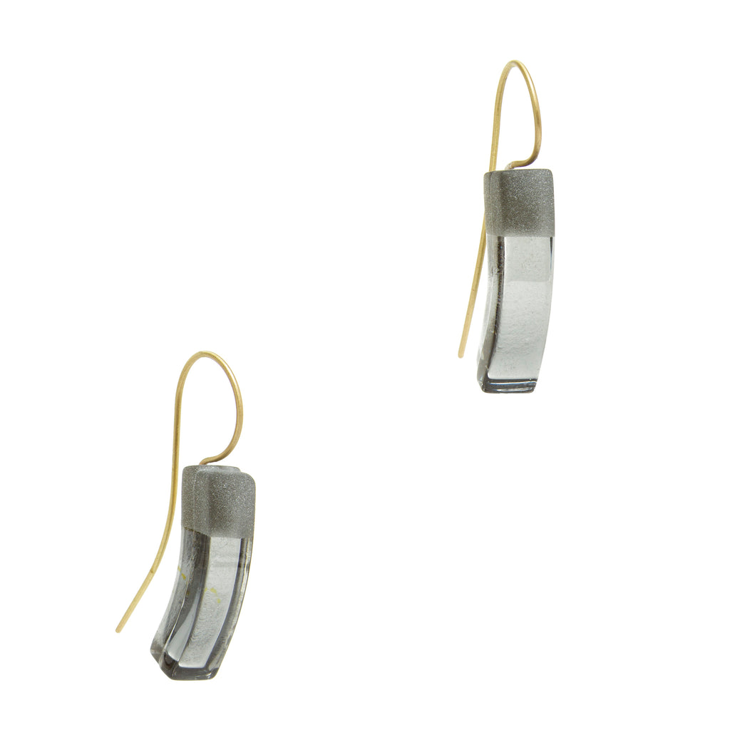 Curved Glass Drop Earrings