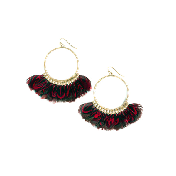 Red Feather Hoop Earrings