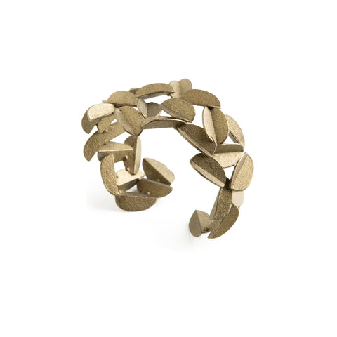 3D Printed Gold Leaves Cuff Bracelet