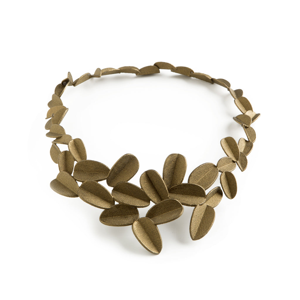 3D Printed Gold Leaves Necklace
