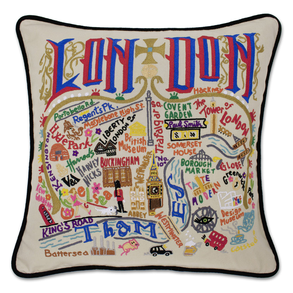 London Hand Embroidered Pillow